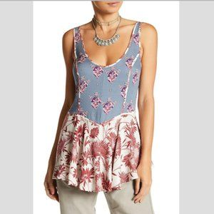 FREE PEOPLE Mixed Print Cami in Blue - XS